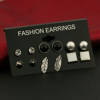 Women 6 Pairs/Set  Jewelry Various Shape Styles Fashion Ear Studs Earrings Gifts