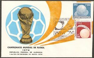 CHILE FDC COVER 1974 # 843/4 SOCCER WC GERMANY 74'