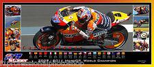 Casey Stoner 2007,2011 champion  82cmx36mm panoramic photo collage Ltd ed of 100