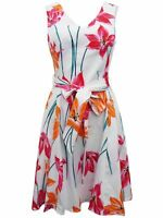 Brand New Size 6 COAST White Floral Print Fit & Flare Belted Dress RRP £99.00
