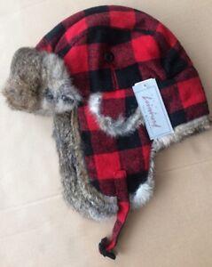 CROWNCAP Aviator Trapper Hat NWT Rabbit Fur BUFFALO PLAID Red Black WARM XL