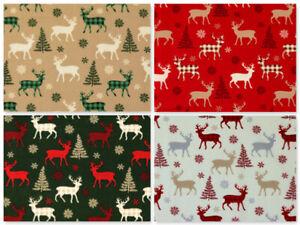 Christmas Fabric Per Metre Tartan Reindeer Stags Xmas Craft Festive Advent Noel