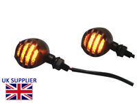 LED Indicators fit Harley Davidson Dyna Project Bike Crinkle Matt Black Steel