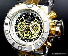 Invicta Sea Hunter III Black 70mm Full Swiss Movt 2 Tone Gold Plated Watch New