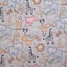 PATCHWORK NEW FABRIC Zoo Animals Baby 100%25 Cotton POPLIN Material Quilting