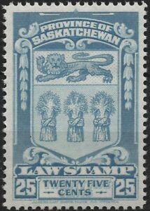 Canada Revenue VanDam #SL48 25c light blue Saskatchewan Law Stamp, MNH - 1938