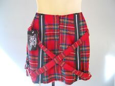 Nos Tiger Of London Red Wool Plaid Mini Skirt Punk Straps Made in England UK 14