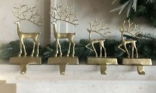 Pottery Barn Merry Reindeer Large Small Stocking Holders Christmas Deer Decor 4