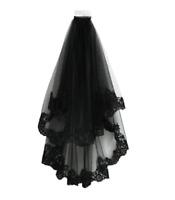US Black Lace Wedding Mantilla Bridal Cathedral Birdcage Gothic Veil with Comb