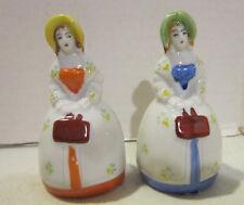 """Vintage lot of 2 colorful porcelain 3.5"""" high figural lady bells - Japan - VGC"""