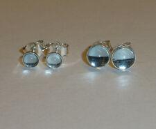 Ohrstecker Silber 925 mit Blautopas Cabochon  hellblau -verschiedene Grössen-