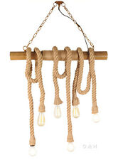 "Hanging Lamp Rope Pendant Bamboo Ceiling Fixture Nautical Light 50"" Six Bulbs"