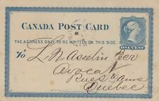 Canada QV 1878 Postcard to Quebec J1725