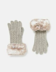 Joules Womens Dana Faux Fur Knitted Gloves - Grey Marl - One Size