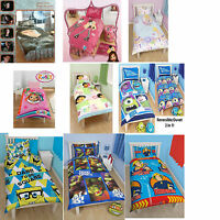 Kids Children Single Duvet Quilt Bedding Cover Set Disney Themed Characters New