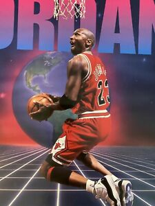 Vintage 1996 Bulls JORDAN #23 OUT OF THIS WORLD Dunk Starline 16x20 Poster