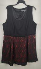 Dressbarn Carmen Marc Valvo Black Red Lace Beaded Sheath Dress 24W NEW
