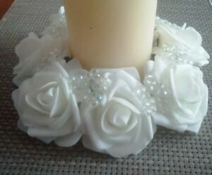 Set Of 2 White rose flower and AB bead candle ring wedding , home decor