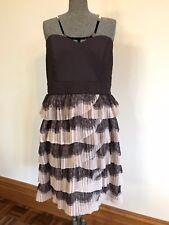 BNWT City Chic formal strapless layer lace mesh frill pleats dress mocha beige S