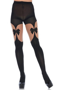 Opaque illusion garterbelt tights with bow