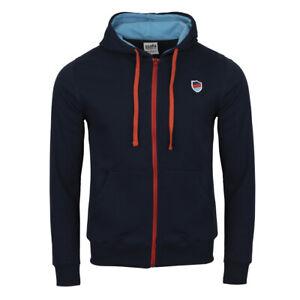 Mens Long Sleeve Full Zip Up Hoodie in Navy Plain Jacket Sweatshirt Casual SSAFA