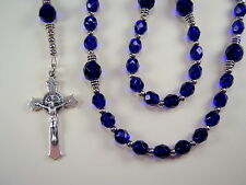 """Boys Rosary Catholic 16"""" Cobalt Blue Czech Glass Beads el nino Rosario"""