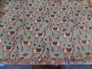 "New Handmade Llama Afghan Lap Blanket - Reversible - Fringe - 38"" x 54"""