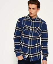 Mens Superdry Flannel Shirt Blue Check Size Medium With Tags