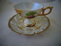 COURTING COUPLE LUSTERWARE PASTORAL SCENE TEACUP & SAUCER SET-GOLD TRIMMED