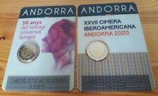 2 euro Andorre 2020 x 2 Suffrage féminin + Sommet ibéro-am. (lot de 2 coincards)