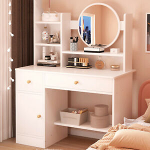 White Dressing Table Makeup Vanity Desk Bedroom Mirror With Drawer Cabinet White