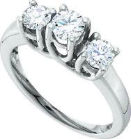 10k White Gold Round 3 Stone Diamond Band Ring .60 Cttw Size 7