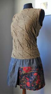 Vestito corto mini abito CUSTO BARCELONA 38 it patchwork denim dress smanicato