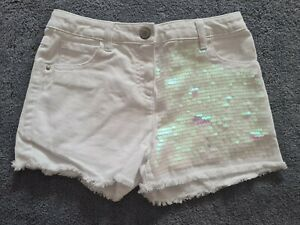 Girls Next White Shorts With Sequin Detail 9yrs *New Without Tags*