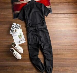 Mens Overalls Short Sleeve Work Wear Boiler Suit Coveralls Fancy Dress Costume