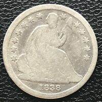 1838 Seated Liberty Dime 10c Circulated #14202