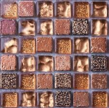 Sample of Gold Glass & Brown Stone Mosaic Tiles 0158