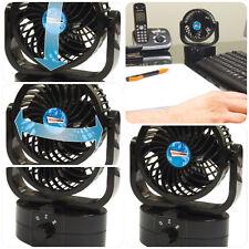 Negro Compacto portátil de viaje aire frío Ventilador Para Escritorio, encimera, Oficina, Coche Y Hogar
