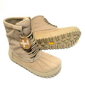 OTZ Waterproof Hiking Snow Boots, Canvas Genuine Leather Suede Vibram Women Sz 6