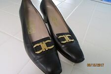 "Salvatore Ferragamo Pump, 9 AAAA, Black, Gold tone hardware, 2"" heel"