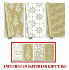 15M GOLD Luxury Christmas Wrapping Paper Roll Traditional Modern Foil Giftwrap