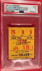 1964 Sandy Koufax PSA Ticket Pass Immaculate Inning/3K-9 Pitches LA Dodgers Vg