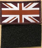 AIRSOFT TAN BROWN MTP UK UNION JACK BRITISH FLAG vELCRO HELMET PATCH