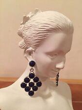 Silver Tone Peacock Chandelier Hanging Earrings Elegant Stones Dangle Jewelry