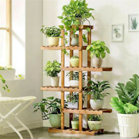 6 Tier Wooden Flower Stands Plant Display Pot Holder Storage Rack Bathroom Decor