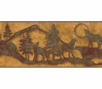Howling Wolves Silhouettes in Patina on Golden Background Border WS6008BD