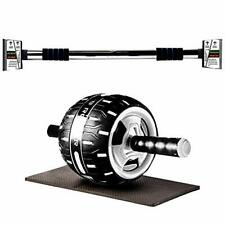 Pull Up Bar & Ab Roller Wheel for ab Workout Exercise Home Gym Equipment By- BHL