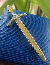 Silver Enamel Iona Celtic Sword Brooch / Kilt Pin  h/m 1946 A.H. Darby / Ritchie