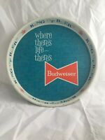 1950s Budweiser King of Beer Bowtie Tin Tray WHERE THERE LIFE THERE'S BUD