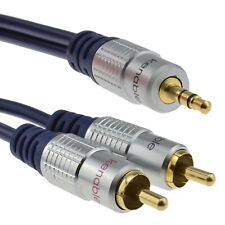 1.8m Pure HQ OFC 3.5mm Stereo Jack to 2 RCA Phono Plugs Cable Gold [008626]